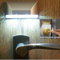 Wholesale Infrared Motion Sensor Automatic Light - Wholesale- Motion Sensor LED Infrared Detector Automatic On Off Wireless Night Light for Key Hole Door Lock Emergency Outdoor Night Light