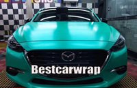 Wholesale matte color cars resale online - Matte Metallic Tiffany Green Vinyl Wrap Car Wap Series Covering With Air bubble Free Luxury Truck Coating size x20m Roll x66ft
