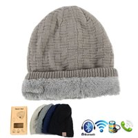 Wholesale Boxing Beanie - New Fashion Beanie Hat Cap Wireless Bluetooth Earphone Smart Headset Speaker Mic Winter Outdoor Sport Stereo Music Hat with retail box