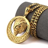 Wholesale Titanium Figaro Necklace Men - Hip Hop Style Lion Head Necklace Gold Silver Color Titanium Steel Lion Head Pendant Necklace Fashion Men Fine Jewelry Gift