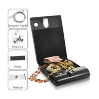 Wholesale Guns Vault - Quality Biometric Fingerprint Safe Box Solid Steel Key Gun Vault Valuables Box Cable Portable H3460