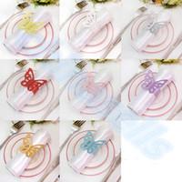kelebek peçete tutucuları toptan satış-Toptan-50 adet Kelebek düğün Peçete Halkası Masa Dekor Peçete Tutucu Otel Peçete tutucu Parti Malzemeleri Yemeği Ziyafet Masa Dekorasyon
