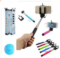 Wholesale Tripod Holder For Lights - New Z07-5S Extendable Handheld Selfie Stick Self-timer Wired Control Monopod Tripod + Cell Phone Clip Holder For iPhone Samsung