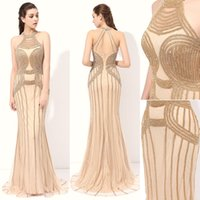 Wholesale Simple Dresses For Pageants - Elegant Halter Designer Occasion Dresses 2017 Bling Bling Sequins Beaded Fishtail Evening Pageant Dresses For Girls Women High Quality