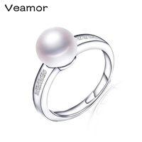 natürlicher perlenring real großhandel-Großhandel 925 Sterling-Silber Ring Classic Style Open Ring 100% natürliche Süßwasser Real Pearl, Ehering für Frauen R027