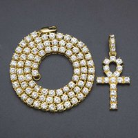 Wholesale Vintage Rhinestone Cross Necklace - Fashion Vintage New Arrival Egyptian Ankh Key Of Life Pendant Necklace Gold Silver Bling Rhinestones Hip hop Pharaoh Link Chain Jewelry