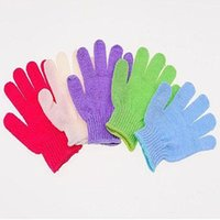 Wholesale Sanitary Gloves - Exfoliating Bath Glove Five fingers Gloves bathroom accessories nylon bath gloves Bathing supplies bath products Free Shipping