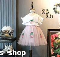 Wholesale Girls Sequin Gauze Dress - Baby summer Suits Sets pineapple sequin cotton shirt tops+ cute TUTU dress Gauze outfits Top quality 2 pieces set kids suits