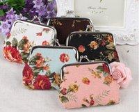 ingrosso borsa della moneta del fiore di rosa dell'annata-Vendita calda bella mini donne e girlss Vintage fiore portamonete tela portachiavi portafoglio hasp piccoli regali christmals borsa all'ingrosso
