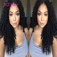 Wholesale Burmese Curly - Glueless Full Lace Human Hair Wigs Kinky Curly Natural Color Peruvian Brazilian Malaysian Indian Mongolian Lace Front Wigs With Baby Hair