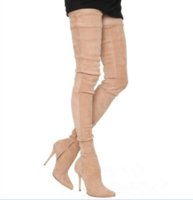 Wholesale Square Toe Stiletto Boots - 2017 winter stiletto heel women shoes thin high heels sexy women thigh high over the knee Stretch boots woman pointed toe grey nude