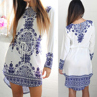 Wholesale Vintage Cocktail Dress L - New Casual Women Long Sleeve Summer Cocktail Evening Party Mini Dress S-XL