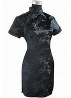 Wholesale traditional satin cheongsam - Wholesale- Black Traditional Chinese Dress Mujer Vestido Women's Satin Qipao Mini Cheongsam Flower Size S M L XL XXL XXXL 4XL 5XL 6XL J4039