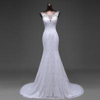 Wholesale Scoop Mermaid Gown - vestidos de novia 100% Real Picture White Vintage Lace Cheap Mermaid Wedding Dresses 201 Lace Up Back Wedding Gowns brautkleid