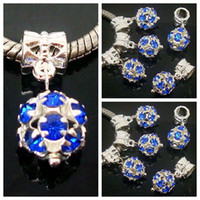 Atacado 100pcs / lot Royal Blue Round Rhinestone Ball Beads Dangle Big Hole DIY encantos colar Pulseira Pulseira Europeia