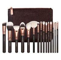 Wholesale Wholesale Professional Hair Tools - Brush 15 PCS Face Powder Eyeshadow Foudation Brushes Professional Luxury Set Make Up Tools Kit Makeup Set