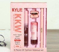 Wholesale Eyebrow Pencil Sharpener - Newest Kylie Lip Gloss set KKW 6 in 1 Creme Lipstick Lip Liner Pencil Sharpener Eyebrow Cosmetic DHL