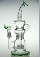 Wholesale green barrels - green Newest Recycler vapor rig scientific bongs 11 inches glass bongs water pipe Pulse bongs glass dabrigs glass waterpipe barrel incycler