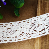 Wholesale Diy Cotton Lace - 10 Yds lot 3.5 cm White Cotton Lace Trim(CL004) Crochet Decoration Ribbon trims for DIY Crafts and Sewing Curtain Tablecloth Accessories