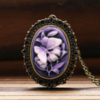 Wholesale Retro Butterfly Necklace - Retro Purple Flower Butterfly Pattern Little Small Pocket Watch Women Lady Girl Necklace Pendant Watches Clock Birthday Gift P62