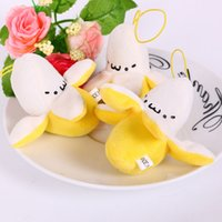 Gros-Mini Kawaii Cartoon Banana Peluche Jouets Pendentifs Peluche Peluches Poupées 7cm 30pcs / lot