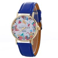 Wholesale Drink Dresses - Fashion enjoy summer fruit drinks leather watch wholesale 2017 new design unisex mens women dress quartz wrist party watches
