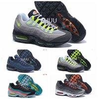 Wholesale Cheap Neon - 2016 New Cheap Mens air sports 95 running shoes,Premium OG Neon Cool Grey sporting shoes sneakers size 40-46
