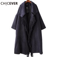CHICEVER Vintage Black Female Coat Tassel Woolen Overcoat Winter Loose Большой размер Lace Up Women Basic Coats Одежда Casual 2017