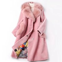 Wholesale Genuine Fox Fur Coat Jacket - Women Winter Genuine Merino Sheep Fur Coat Long High quality Real fOX hair collar Shearling Jacket cashmere overcoat