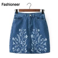 Wholesale Summer Jean Shorts Womens - Fashioneer Womens Mid Embroidered Floral Denim Cotton Summer Short Skirt A-line Two Pockets Zipper Mini Skirts Embroidery Jean Skirts
