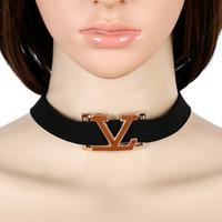Wholesale Ladies Simple Necklace - hot sale high quality latest trendy Fashion designer popular simple lady woman metal letter velvet choker necklace