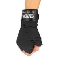 Wholesale karate martial arts - SUTEN 1 Pair Width 5cm Length 2.5M Cotton Boxing Handwrap Sanda Fighting Bandage Wrist Support Wrestle Martial Art for Karate Boxing +B