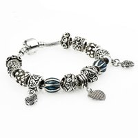 Wholesale Cuff Link Original - European Authentic BEADS jewelry silver plated owl beads blue crystal Charm bracelets for women Original DIY Jewelry