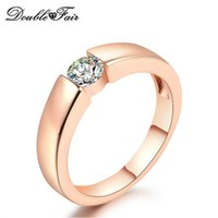 Wholesale Gemstones Rings Men - Simple Imitation Gemstone 18K Rose White Gold Plated Round Rings Wholesale Jewelry For Women Men Party CZ Diamond DFR400   DFR406
