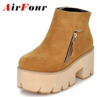 Wholesale Crust Rubber Boots - Wholesale-Airfour New Zipper Platform Ankle Boots Women Round Toe Thick Crust Shoes Woman Black Yellow High-top Nubuck Motorcycle Boots