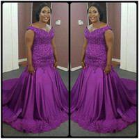 Wholesale Dress Gril Blue - Elegant Purple Plus Size Mermaid Evening Dresses African Lace appliques Beads Long Black Gril Gowns robe de soiree