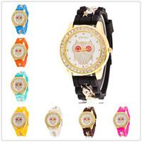 сова смотреть женщина оптовых-Мода позолоченные Сова повседневная кварцевые часы женщины Diamante Кристалл силиконовые часы Наручные часы платье часы