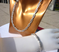 Wholesale Solid Platinum Necklace - NEW 2017 MEN's women's Handsome 24k Real White Solid Gold GF Miami Cuban NEW Fine Necklace Bracelet Various SETS Jewelry Concept GIFT