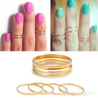 Atacado- Hot Retro 5PCS / Set prata urbana de ouro prata Plain Cute Above Knuckle Band Midi Ring 7EPX BCVT