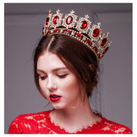Wholesale Headwear Styles - Western Style Red Dimand Crystal Head Jewelry Princess Queen Wedding Party Hair Accessories Headwear Baroque Bridal Crown Tiaras And Crowns