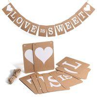 Wholesale Love Sweet Wedding Banner - Wholesale- Hot Vintage LOVE IS SWEET Wedding Banner Photo Prop Bridal Party Decoration Hot Kraft Paper Bunting Banner Party Decoration