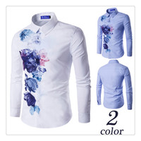 Wholesale Korean Designer Shirts - Designer Shirts Korean Style Men Spring Autumn Fashion Printing Mens Casual Long Sleeves Slim Fit Shirts US Size:XS-L