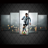 Wholesale 5 Set Framed HD Printed Football Sports Messi Wall Art Canvas Print Poster Canvas Pictures Modern Painting For Living Room
