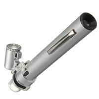 schmuck werkzeuge lupe großhandel-Silber 100X Mikroskop für Pocket LED Licht Schmuck Lupe 10X Objektiv Lupe Glas Uhr Repair Tool
