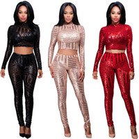 Wholesale Sequin Jumpsuits For Women - Night Club Two Pieces Jumpsuit Bodysuit For Women Flash Elegant Party Jumpsuit Sequin Bodysuit Women Cropped Overalls Plus Size