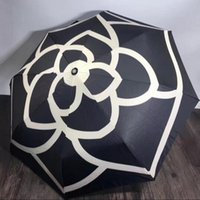 Wholesale Rain Patterns - luxury Classic pattern Camellia Flower logo Umbrella For Women 3 Fold Luxury Umbrella with gift Box And Bag Rain Umbrella VIP gift