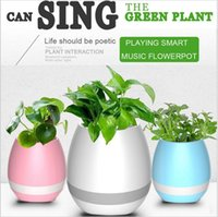 Wholesale Smart Wireless China - Creatives Touch Wireless Bluetooth Flowerpot Mini Subwoofer Speaker with LED Multiple Colors Home Smart Plant Office Mp3 Music Player Toy