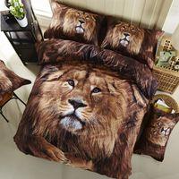 Wholesale lion print comforter sets - 3D Bedding Set Lion king Full Size Home Textiles Duvet Covers Bed Linen Pillow Cases Wholesale Home Textile