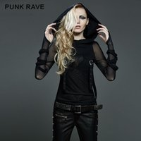 Wholesale Punk Rave Shirt - Wholesale-New Punk Rave Emo Rockabilly Gothic Vintage Top Shirt Cotton Women fashion M XL 3XL