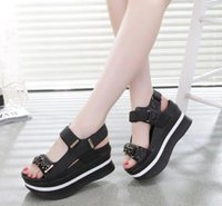 Wholesale Roman Wedge Sandals Fashion - New Fashion Summer Shoes Woman Wedges Sandals High Heels 2017 New Large Size Fish Mouth Leather Shoes Women Roman Sandal